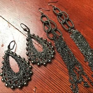 2 Gunmetal Chain Drop Earrings